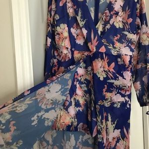 Floral plunging v neck long tail romper maxi dress